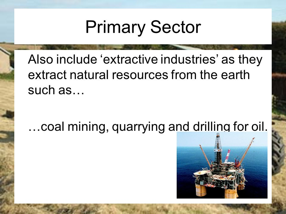 Primary Industries Extract Natural Resources From The Earth