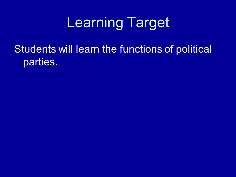 major functions of political parties O this ppt provides an overview of the two major political parties, explains america's two-party system, introduces third parties, explains the functions of political parties, and discusses political conventions.