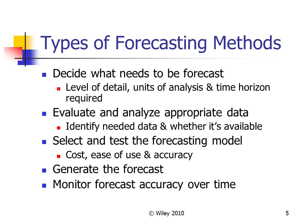 types of forecasting methods To receive the most benefit from forecasts, leaders must understand the limits of  each method, and what forecast type is best suited to a.