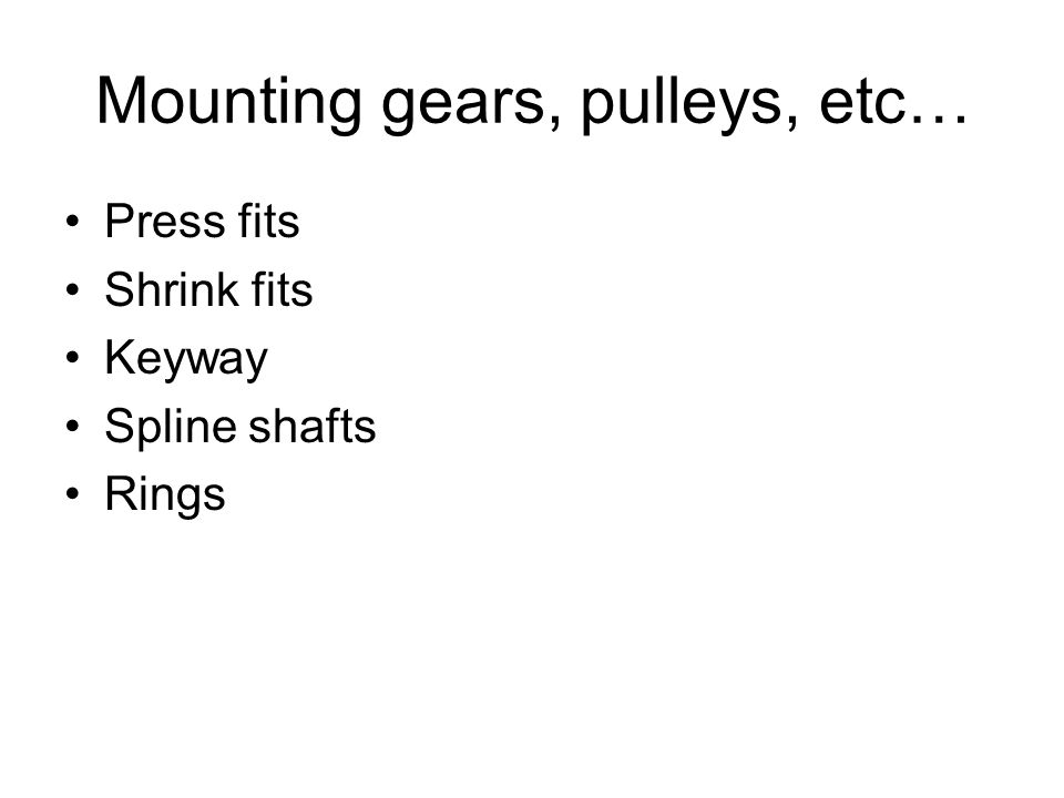 Mounting gears, pulleys, etc…