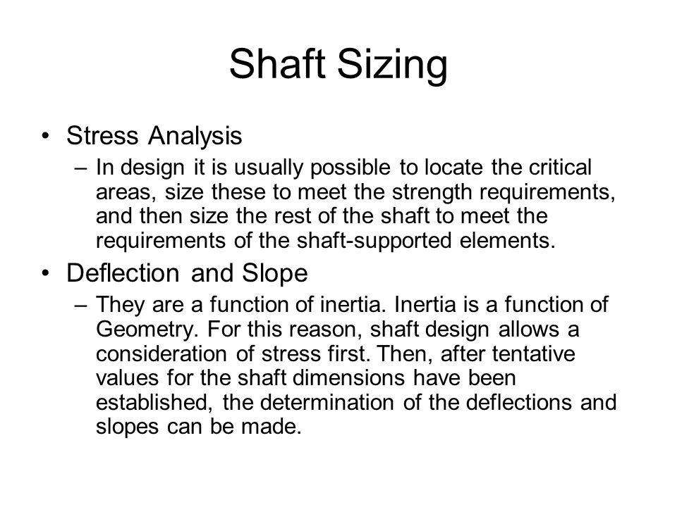 Shaft Sizing Stress Analysis Deflection and Slope