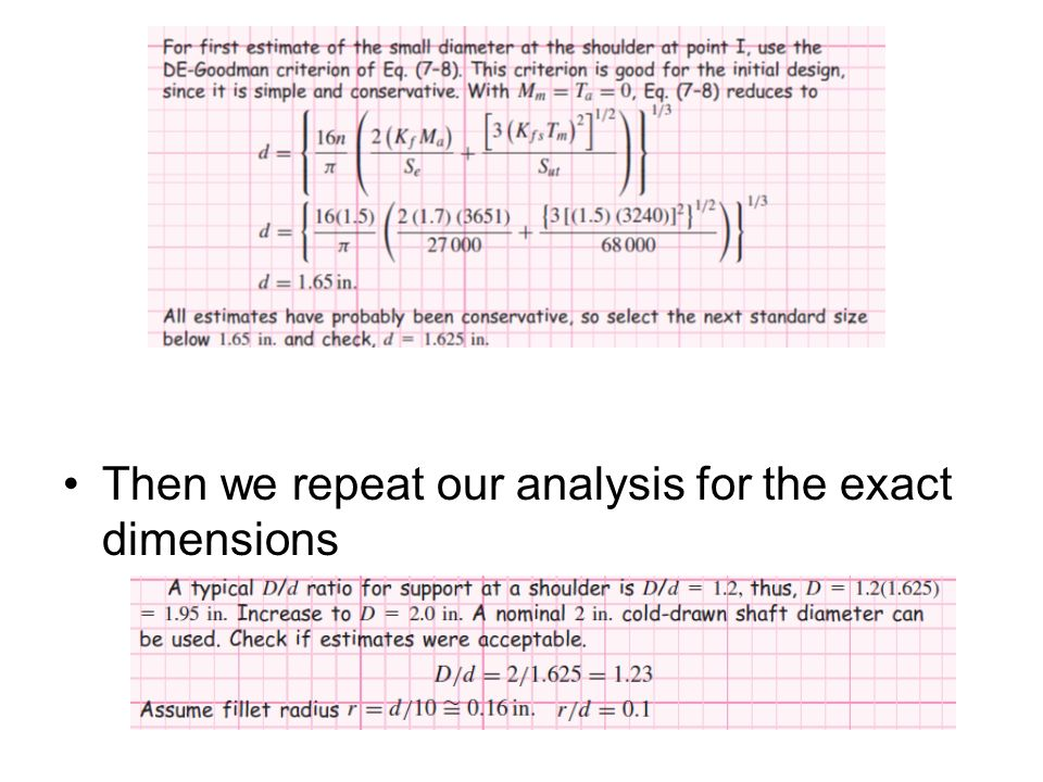 Then we repeat our analysis for the exact dimensions