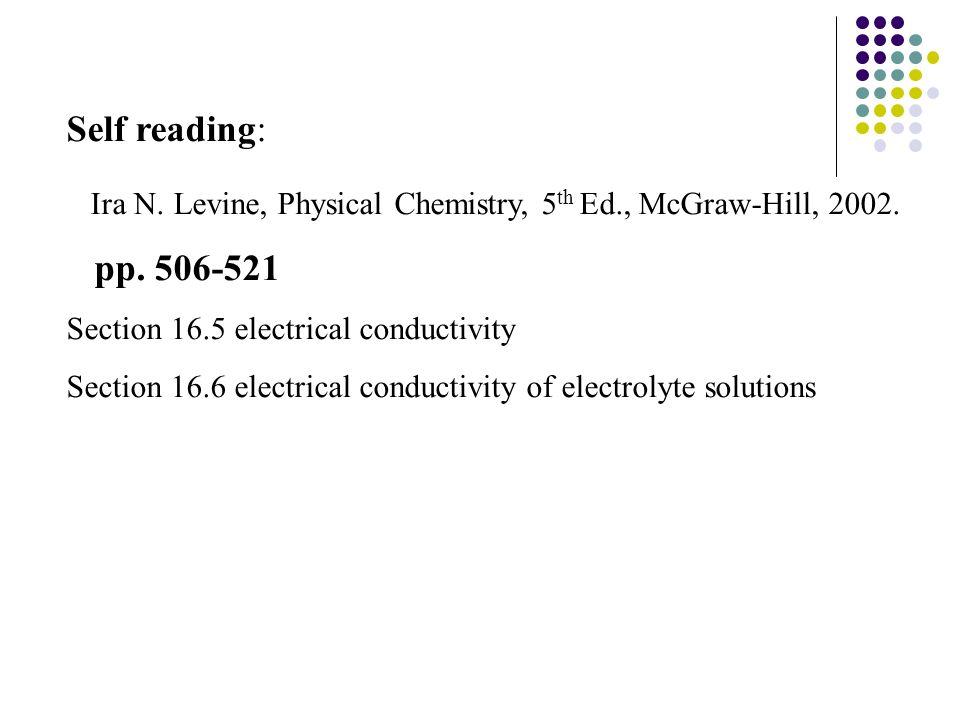 conductivity chemistry. self reading: ira n. levine, physical chemistry, 5th ed., mcgraw conductivity chemistry i