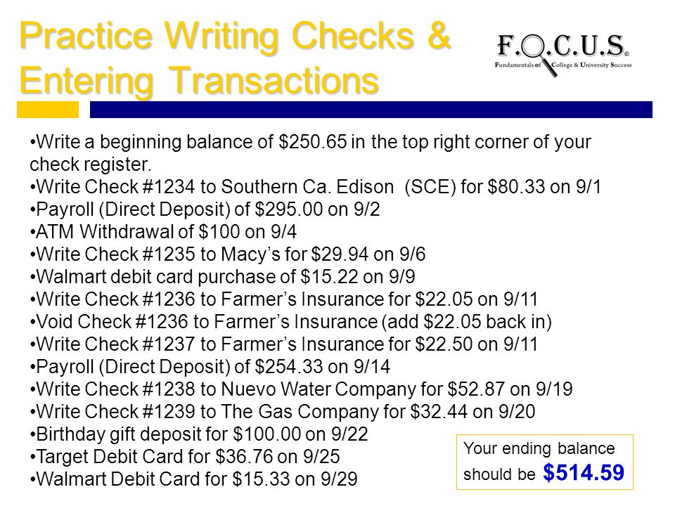 how to write a check out for $250