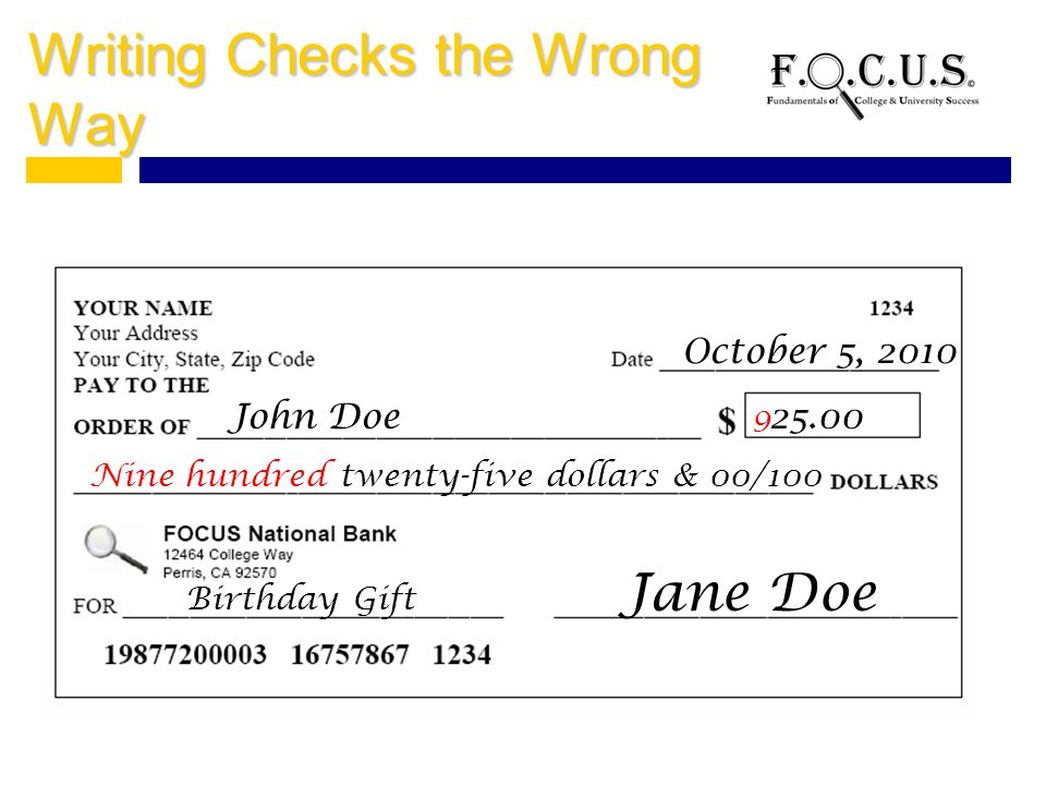 how to write a twenty five dollar check
