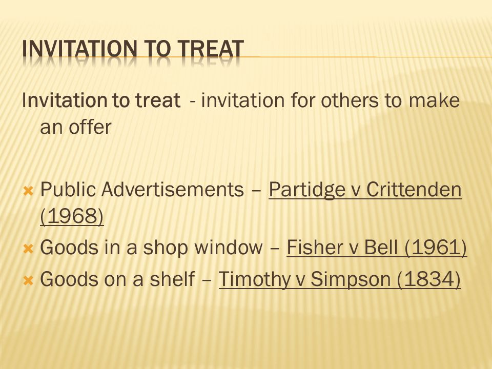 Definition of offer an expression of willingness to contract on 9 invitation to treat stopboris Choice Image