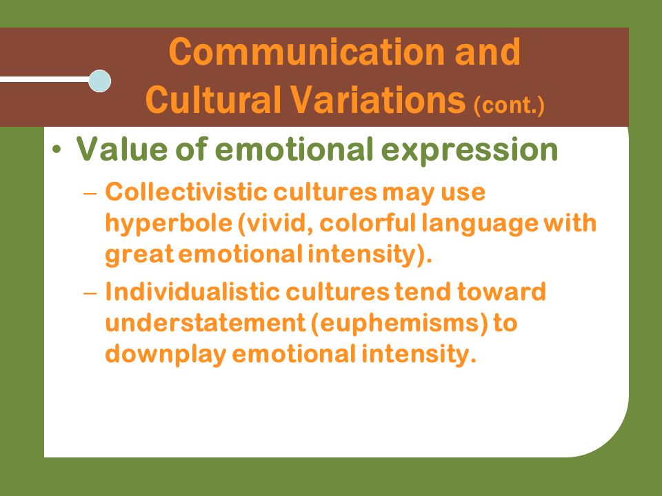 Communication and Cultural Variations (cont.)