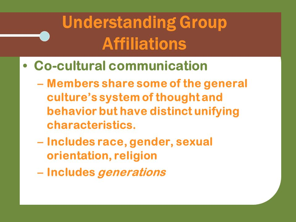 Understanding Group Affiliations