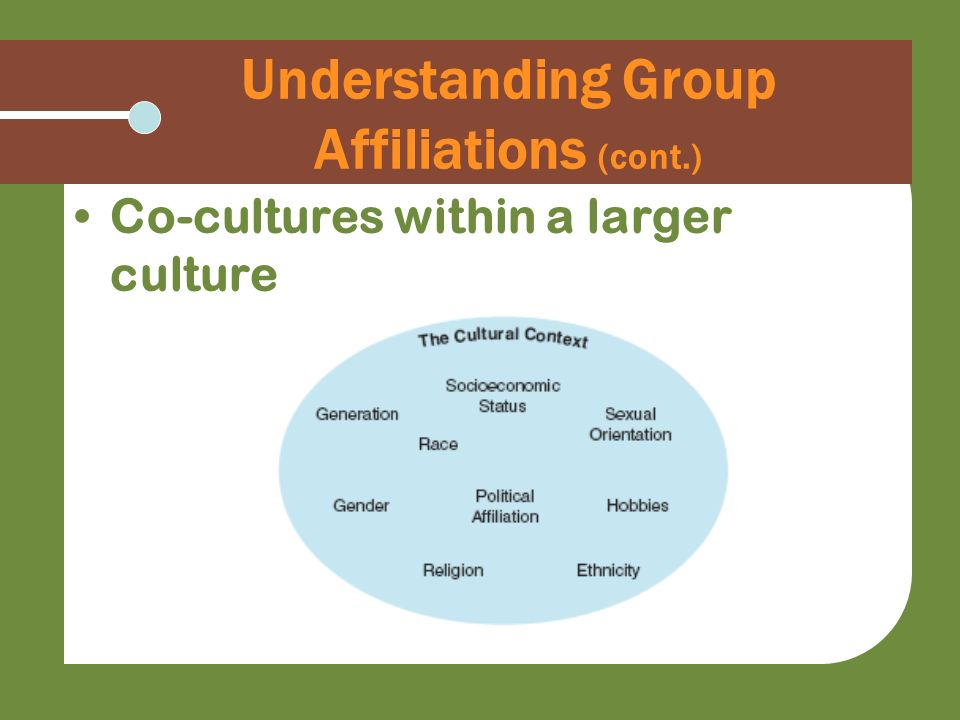 Understanding Group Affiliations (cont.)