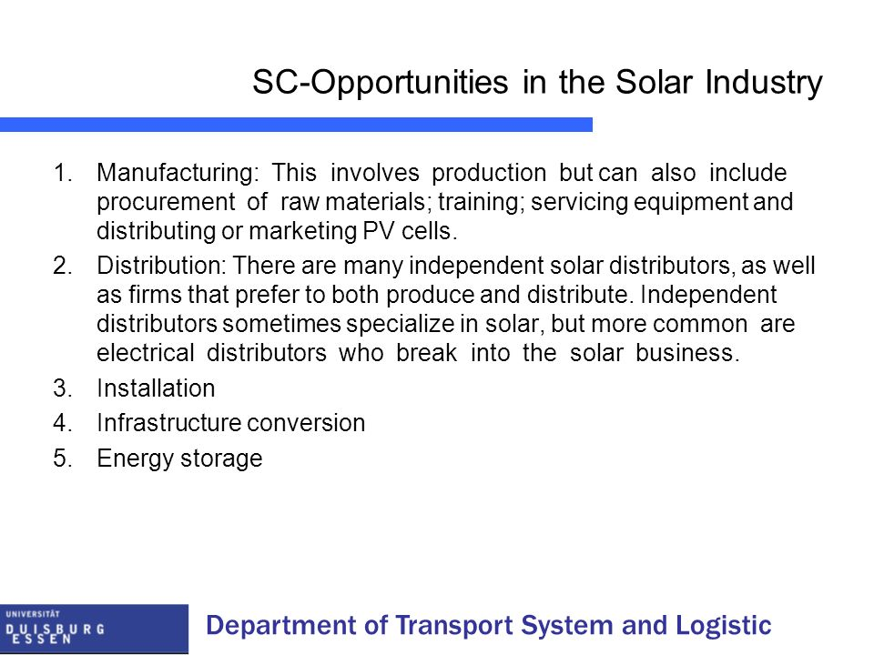 SC-Opportunities in the Solar Industry