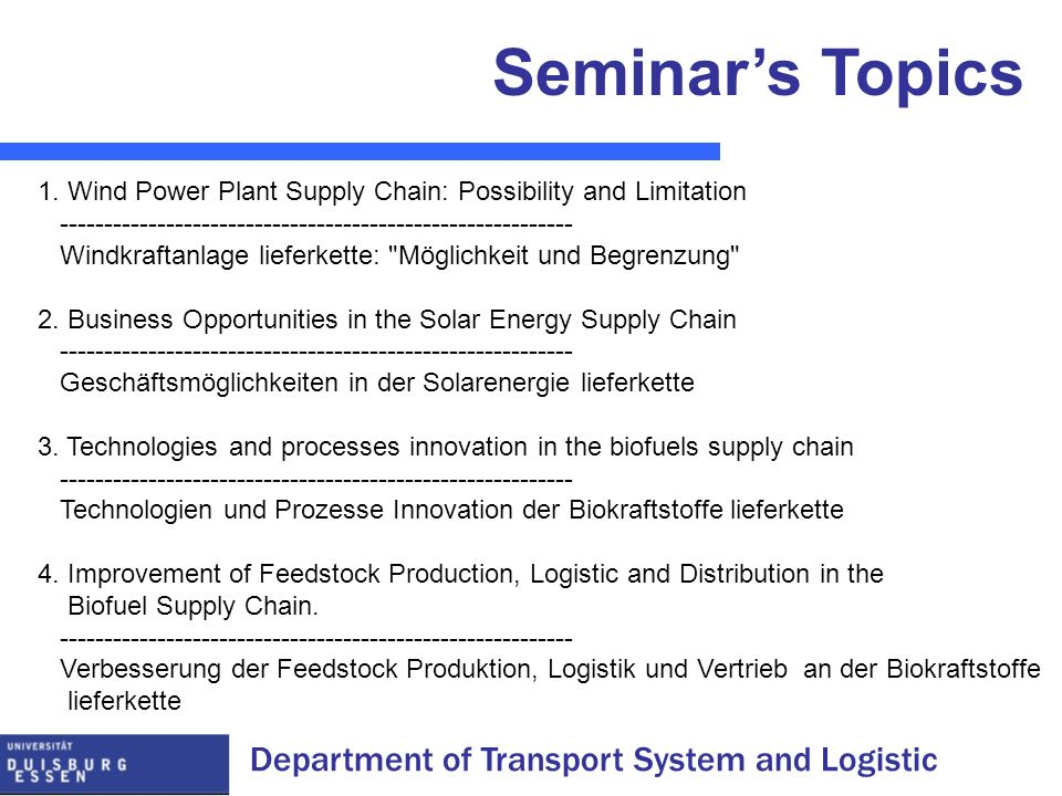 Seminar's Topics 1. Wind Power Plant Supply Chain: Possibility and Limitation. ----------------------------------------------------------