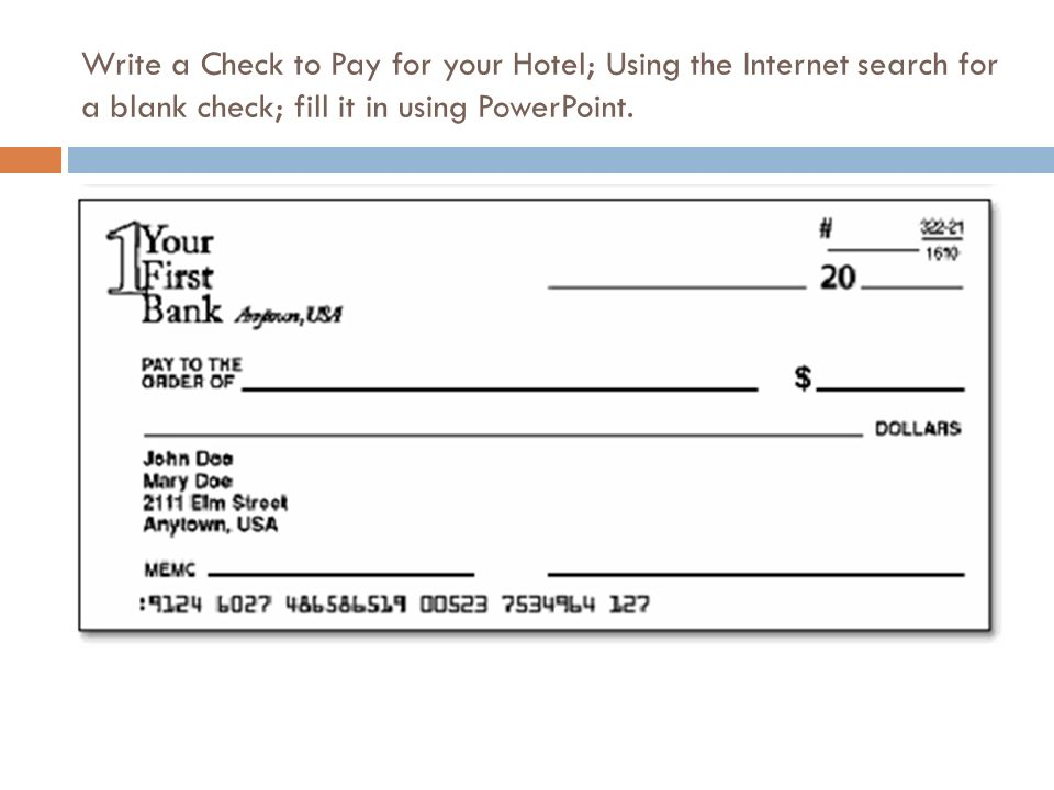 Desiree sartin mhs business education ppt video online download 15 write a check to pay for your hotel using the internet search for a blank check fill it in using powerpoint ccuart Choice Image