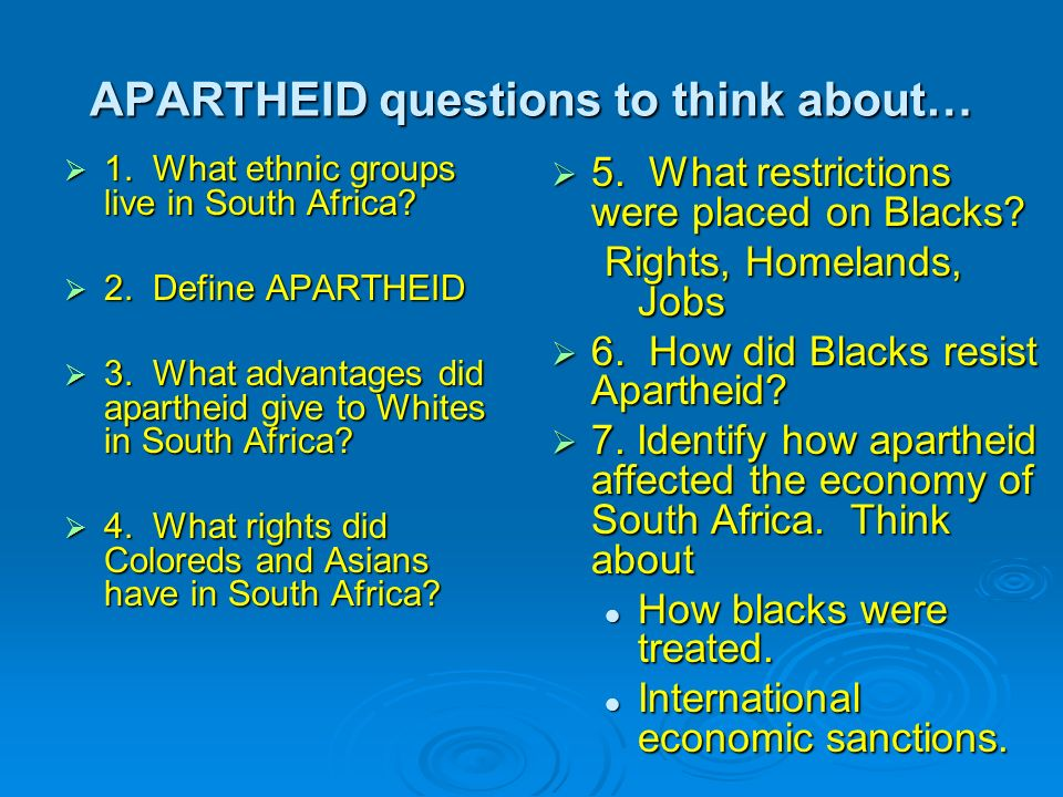 essay questions on apartheid in south africa South africa after apartheid inhabits a temporal order in which the  as the  essays are, they reflect only some of the debate on this question.