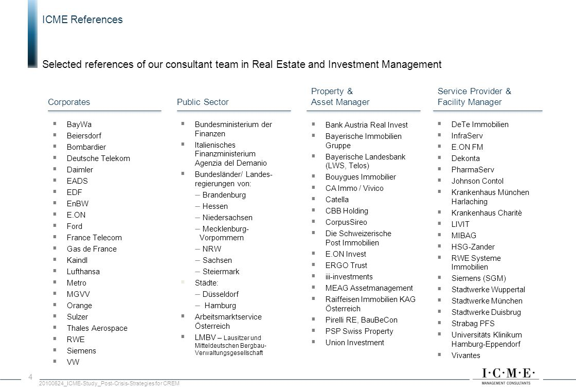 ICME References Selected references of our consultant team in Real Estate and Investment Management.