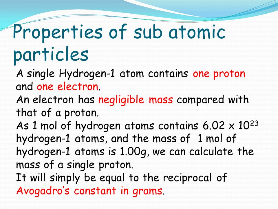 isotopes sub atomic particles and relative atomic There are many other sub-atomic particles but those are in the realm of physics - and therefore of no interest to anyone for the purposes of chemistry, the relative mass of an electron is generally treated as zero.