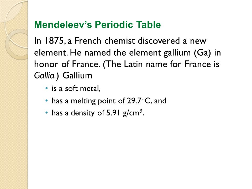 Chapter 5 the periodic table ppt video online download mendeleevs periodic table urtaz Choice Image
