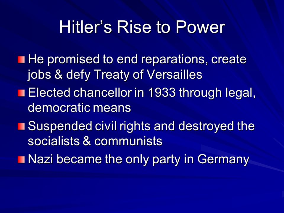 the hitlers rise to power and the treaty of versailles