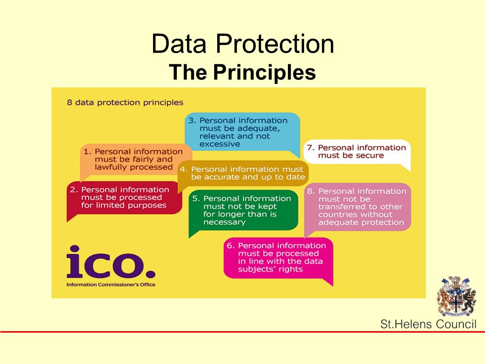 8 principals of data protection Principle 8 states that personal data shall not be transferred to a country or territory outside of the eea unless that country or territory ensures an adequate level.
