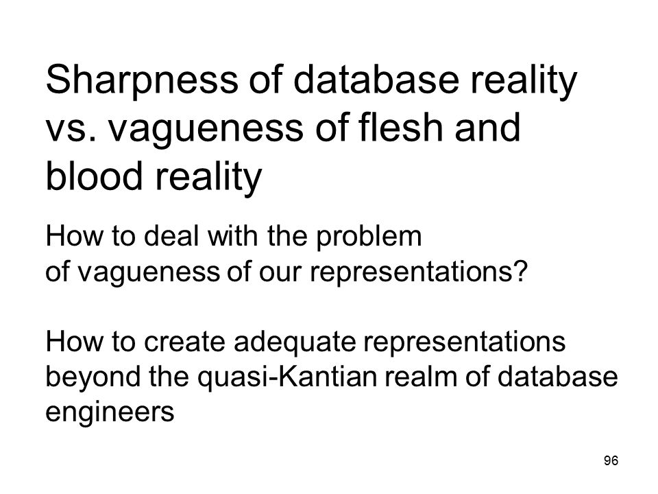 sharpness of database reality vs vagueness of flesh and blood reality - Database Engineers