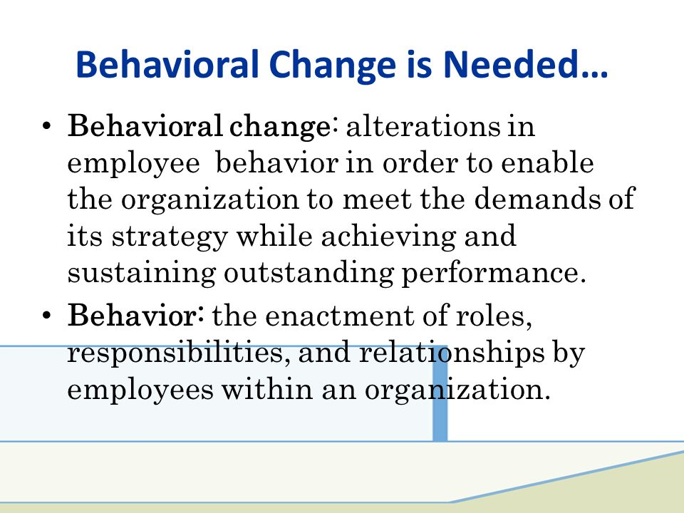 behavioral change within an organization essay The impact of leadership and change experts in organizational behavior use the concept of change occurs within organizations will be influenced by the.