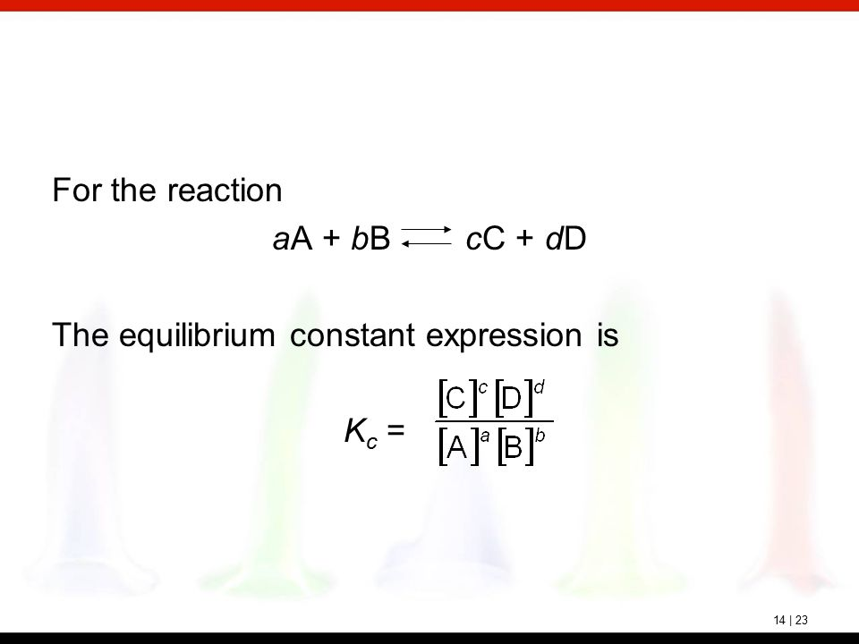 chemical reaction and equilibrium constant expression Construct an equilibrium constant expression for a chemical reaction every chemical equilibrium can be characterized by an equilibrium constant, known as k eq.