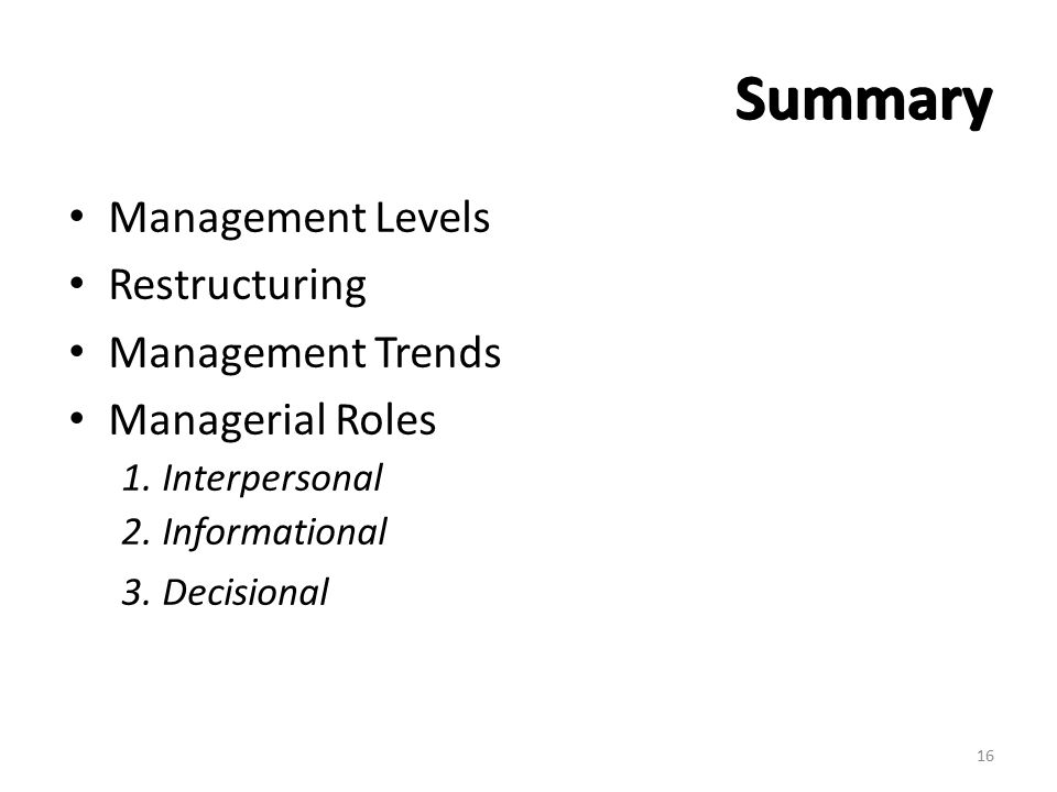 Summary Management Levels Restructuring Management Trends