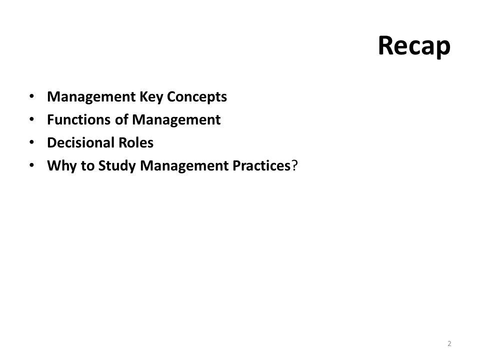Recap Management Key Concepts Functions of Management Decisional Roles