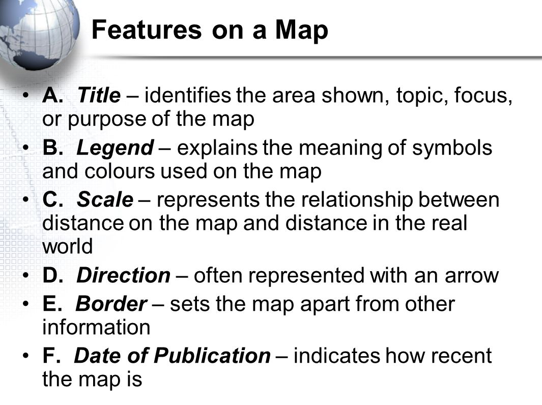 Maps the geographers basic tools ppt video online download features on a map a title identifies the area shown topic focus biocorpaavc