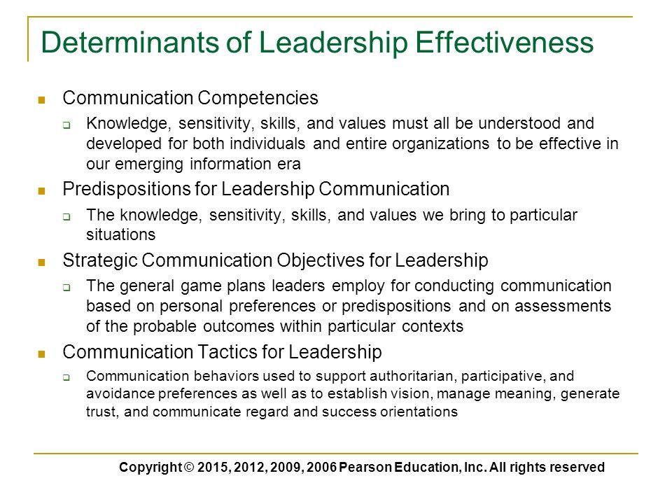 analysing leadership and determinants of leadership effectiveness The top 5 determinants of organizational success continuous improvement of leadership and management presentation skills, meeting effectiveness.