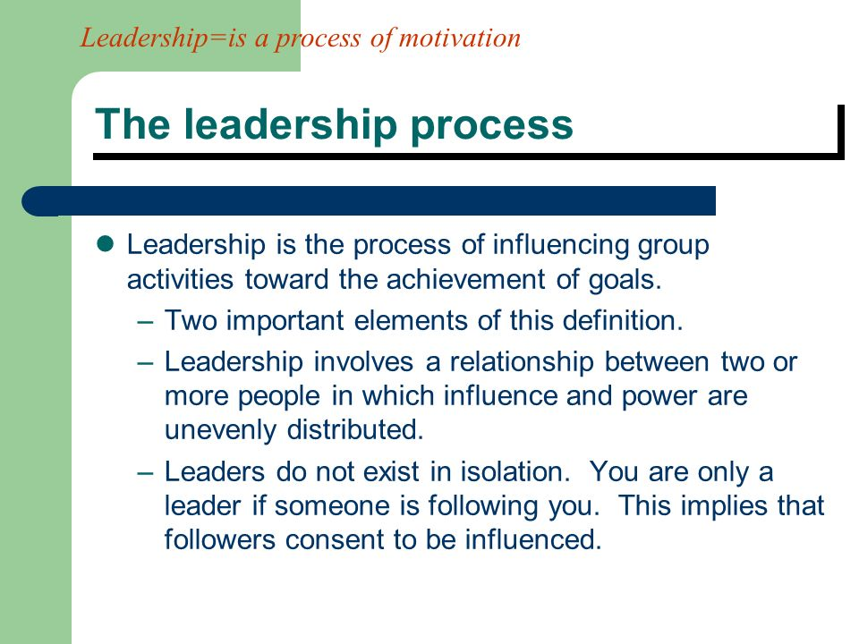 the process of leadership Leadership is a process by which a person influences others to accomplish an objective and directs the organization in a way that makes it more cohesive .
