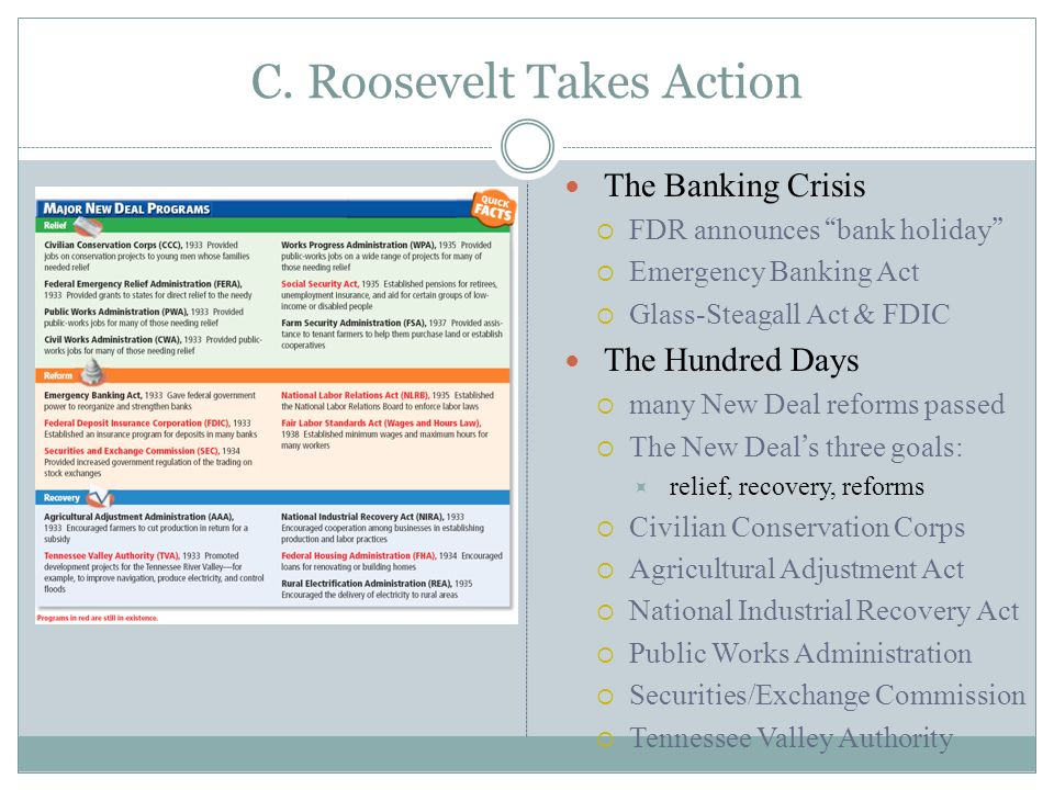 5 C. Roosevelt Takes Action