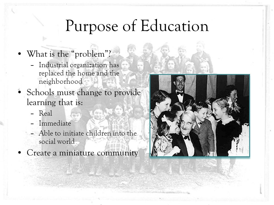 what is the real purpose of education Bridgewater review volume 22|issue 1 article 5 jun-2003 college experience and real world experience: what is the purpose of education nancy kleniewski.