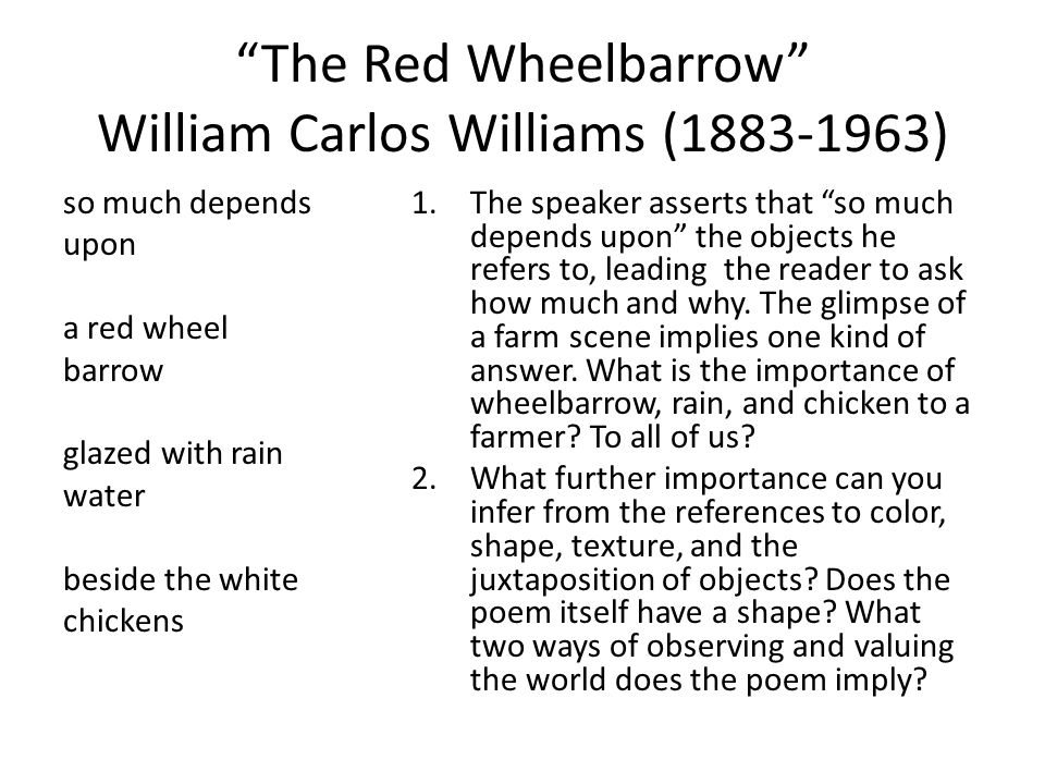the red wheel barrow this A wheelbarrow is a small hand-propelled vehicle, usually with just one wheel, designed to be pushed and guided by a single person using two handles at the rear, or by a sail to push the ancient wheelbarrow by wind the term wheelbarrow is made of two words: wheel and barrow.