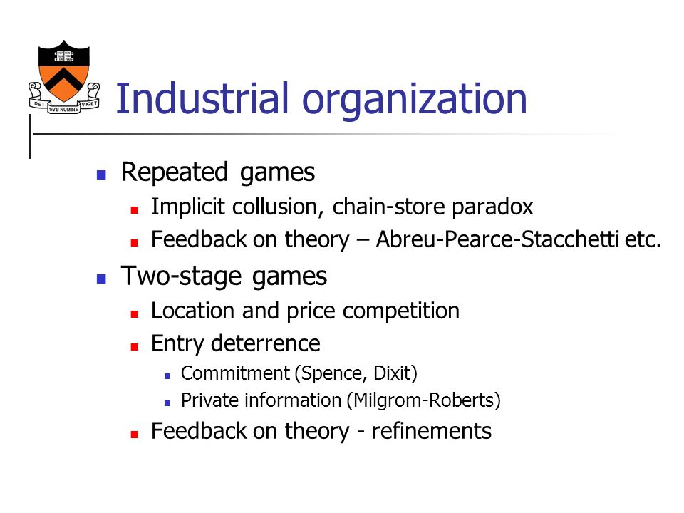 entry deterrence in game theory The course includes economic modeling, game theory, numerous real life   business strategies, predation, entry deterrence and many others.