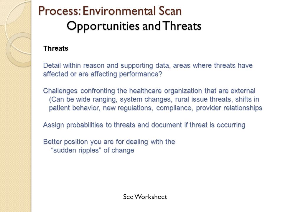 environmental scanning identifying threats and opportunities Making an environmental scan results in identifying the impact of relevant factors in the  opportunities and threats in the education sector, and what are strength.