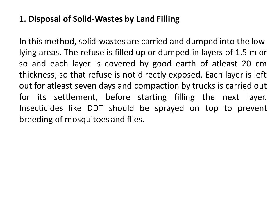 1. Disposal of Solid-Wastes by Land Filling