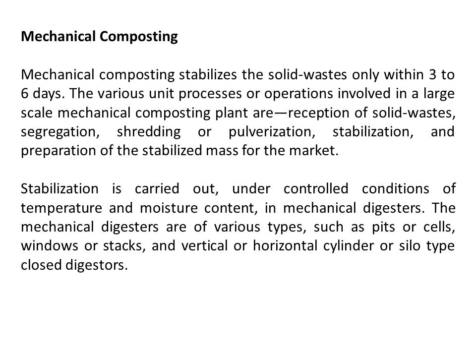 Mechanical Composting
