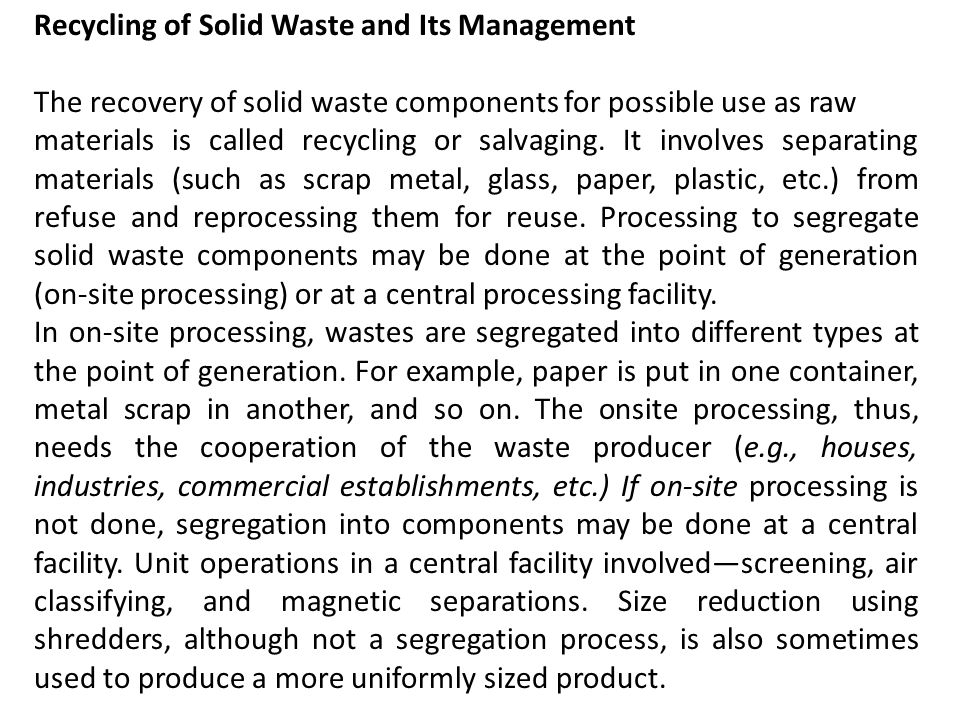 Recycling of Solid Waste and Its Management