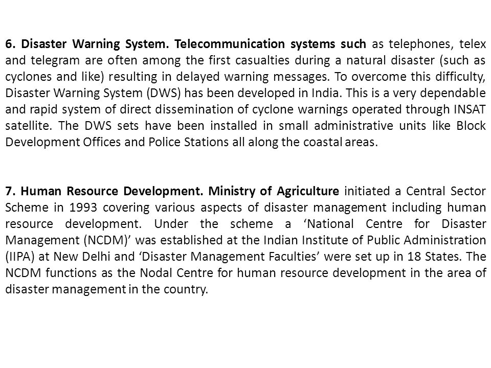 6. Disaster Warning System