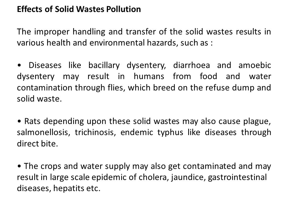 Effects of Solid Wastes Pollution