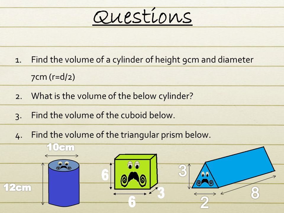 how to work out the volume of a cylinder