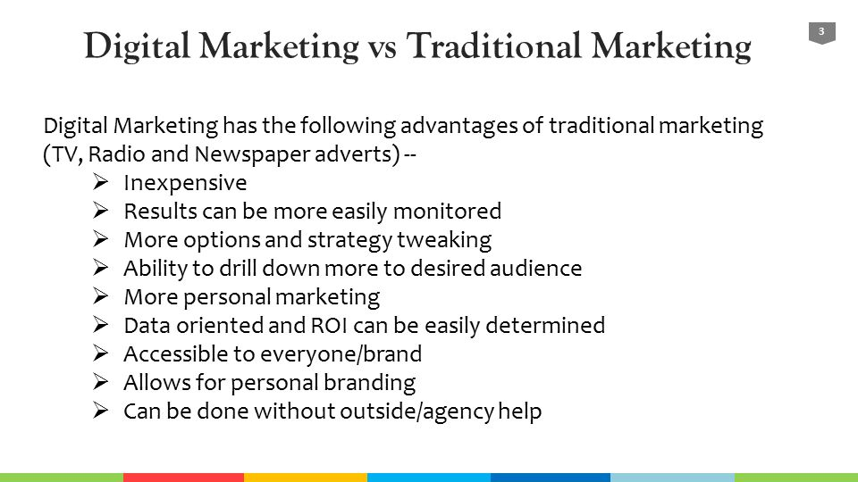 online marketing vs traditional marketing essay Introduction to digital marketing (dm)  digital marketing tools getting ireland online.