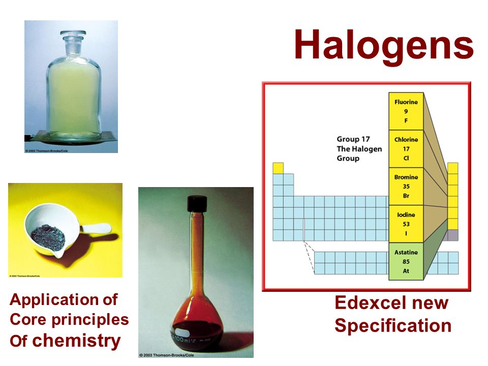 Halogens Edexcel new Specification Application of Core principles