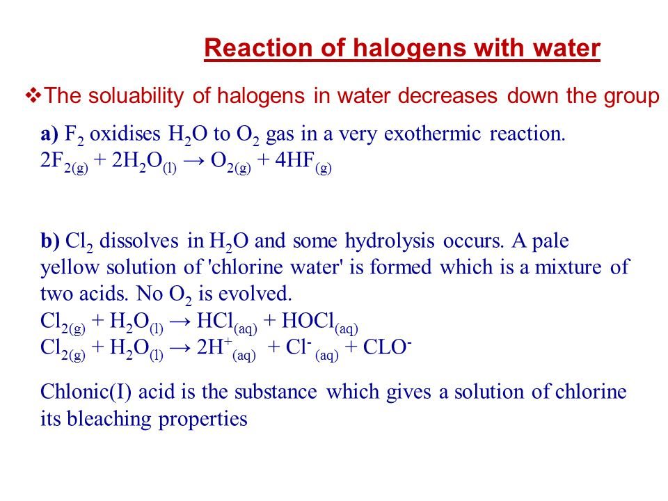 Reaction of halogens with water