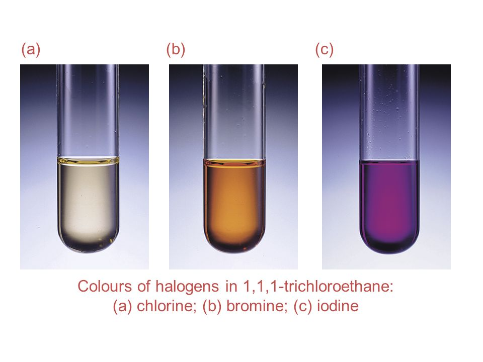 (a) (b) (c) Colours of halogens in 1,1,1-trichloroethane: (a) chlorine; (b) bromine; (c) iodine