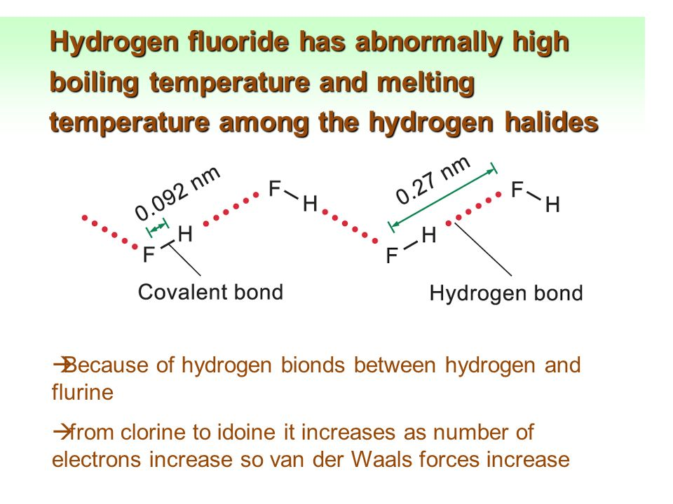 Hydrogen fluoride has abnormally high boiling temperature and melting temperature among the hydrogen halides