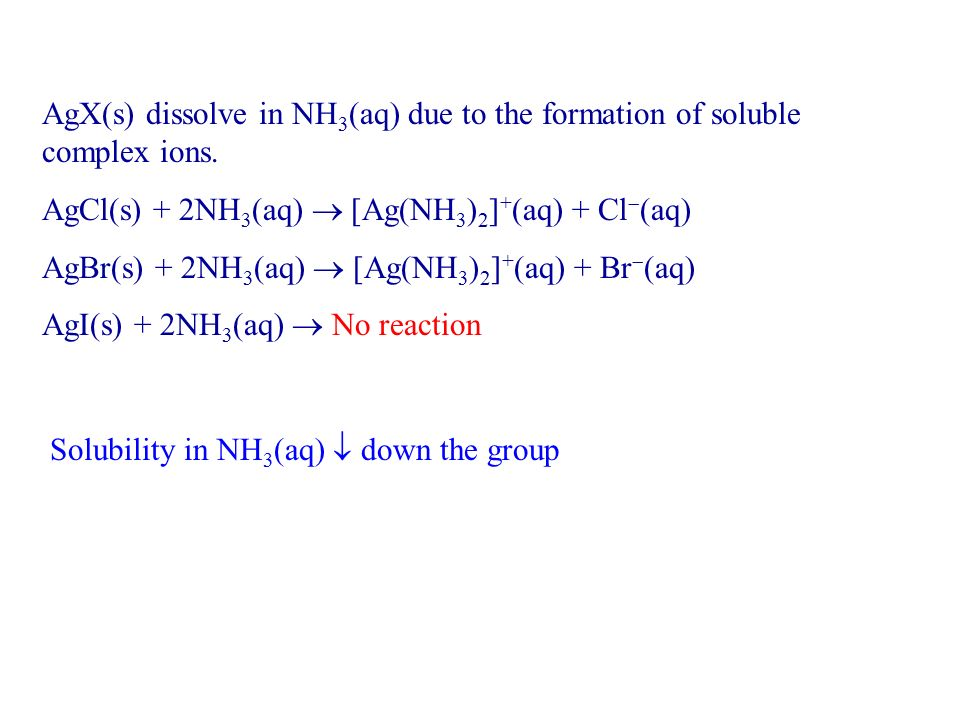 AgX(s) dissolve in NH3(aq) due to the formation of soluble complex ions.
