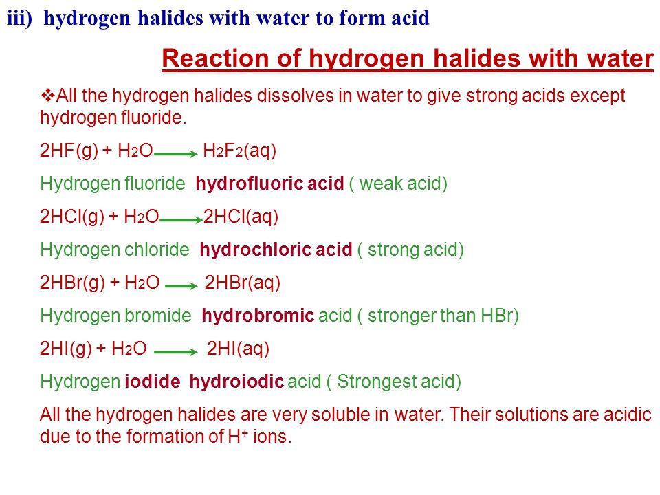 Reaction of hydrogen halides with water