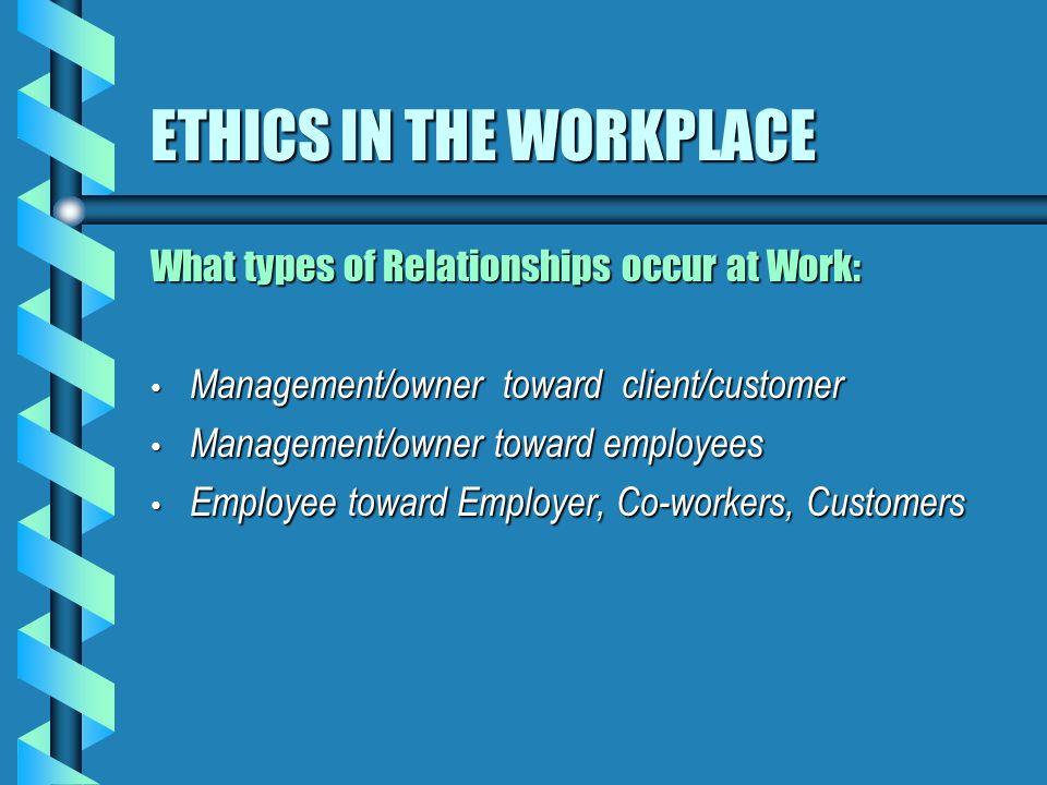 dating ethics in the workplace Ethics & compliance sbc home download the and inclusive culture that embraces learning and fosters trust—a culture where every employee can do their best work.