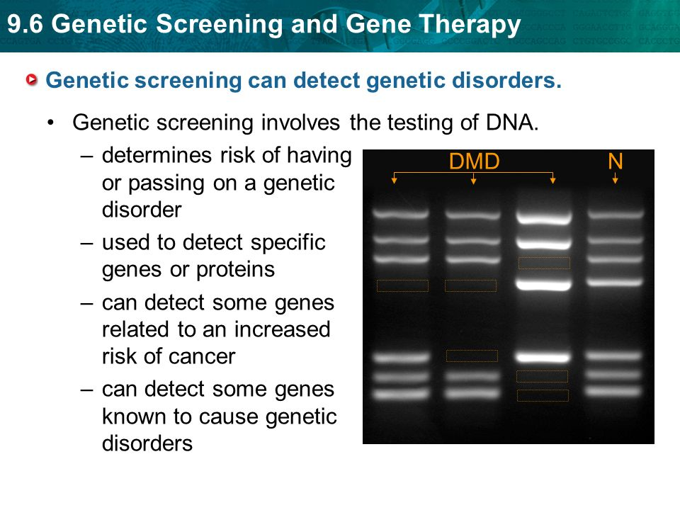 Genetic screening can detect genetic disorders.